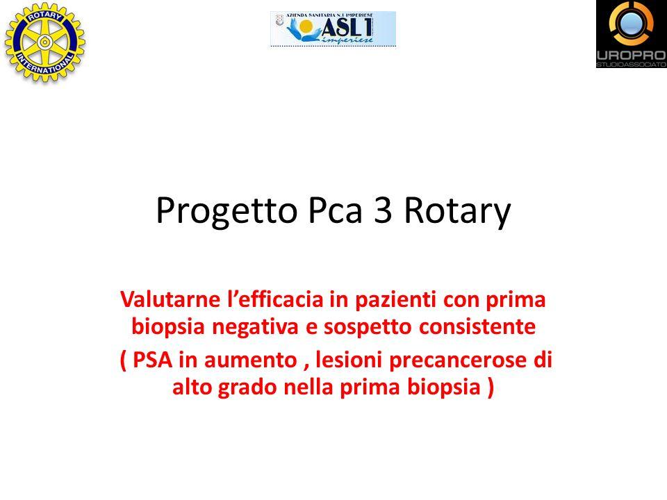 Progetto Pca 3 Rotary Valutarne lefficacia in pazienti con prima biopsia negativa e sospetto consistente ( PSA in aumento, lesioni precancerose di alt