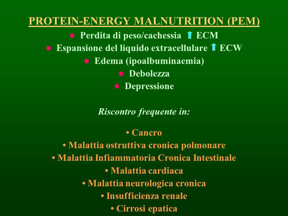 PROTEIN-ENERGY MALNUTRITION (PEM) Perdita di peso/cachessia ECM Espansione del liquido extracellulare ECW Edema (ipoalbuminaemia) Debolezza Depression