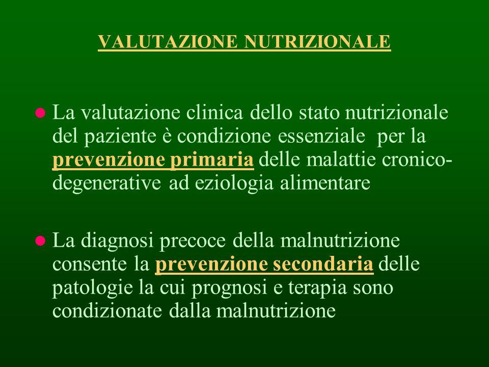 VALUTAZIONE NUTRIZIONALE La valutazione clinica dello stato nutrizionale del paziente è condizione essenziale per la prevenzione primaria delle malatt