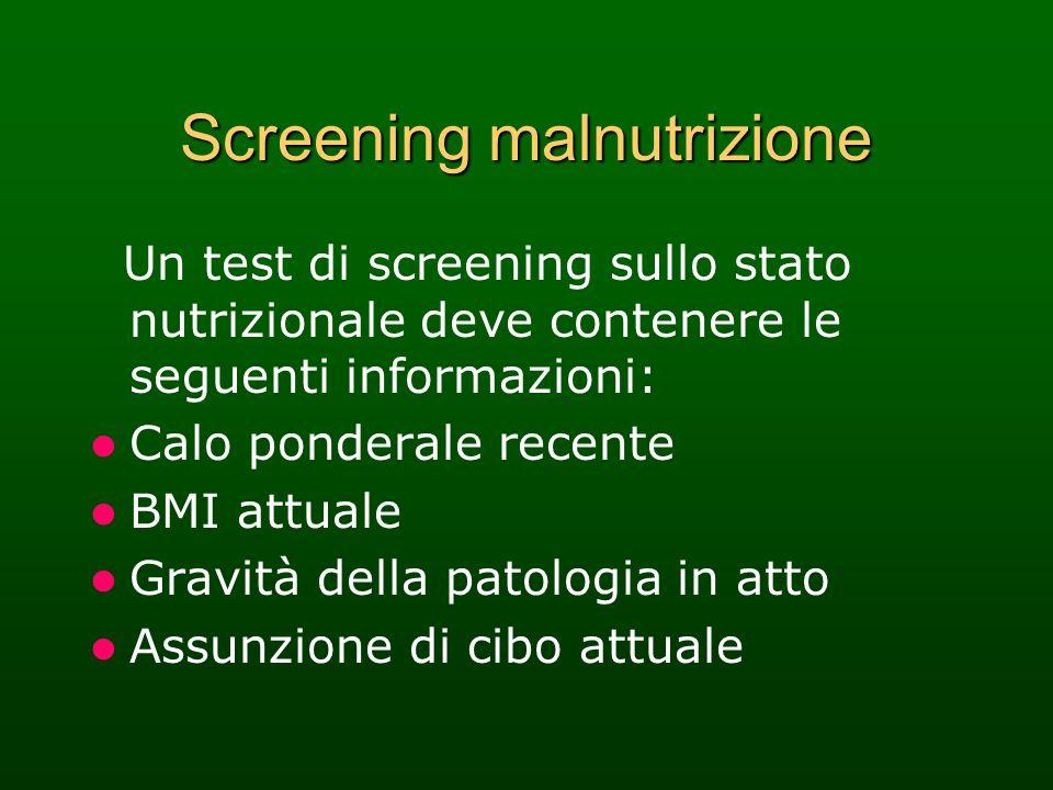 Screening malnutrizione Un test di screening sullo stato nutrizionale deve contenere le seguenti informazioni: Calo ponderale recente BMI attuale Grav