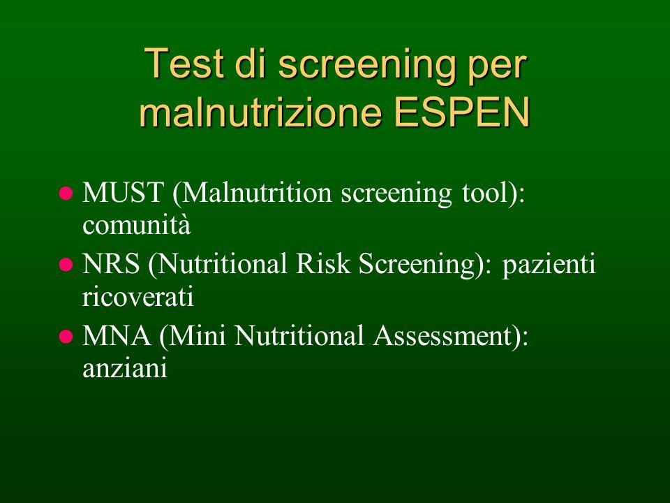 Test di screening per malnutrizione ESPEN MUST (Malnutrition screening tool): comunità NRS (Nutritional Risk Screening): pazienti ricoverati MNA (Mini