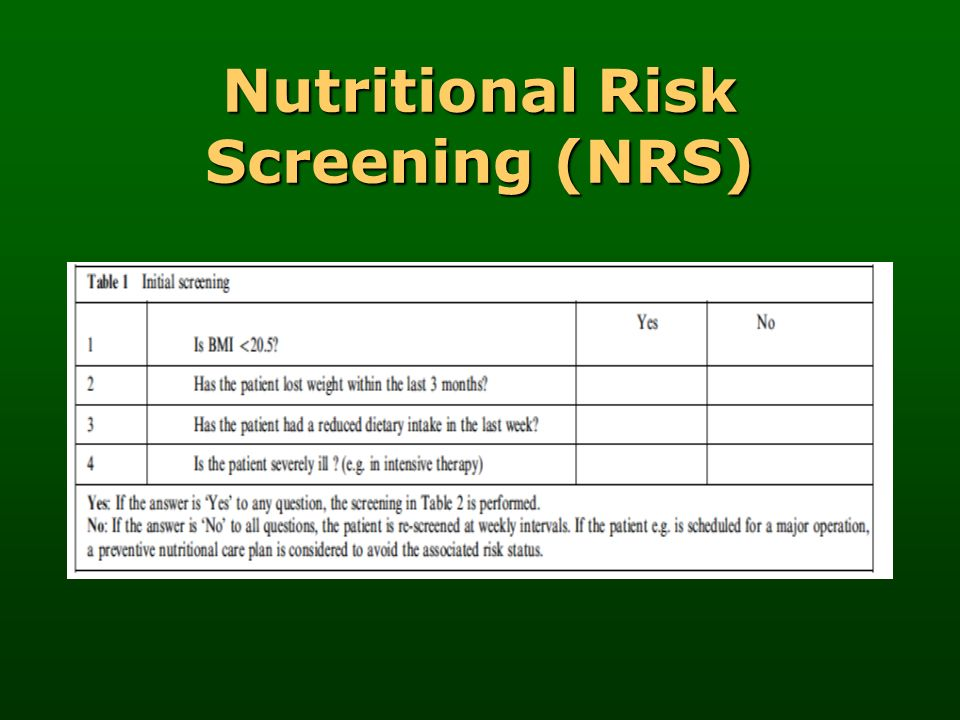 Nutritional Risk Screening (NRS)