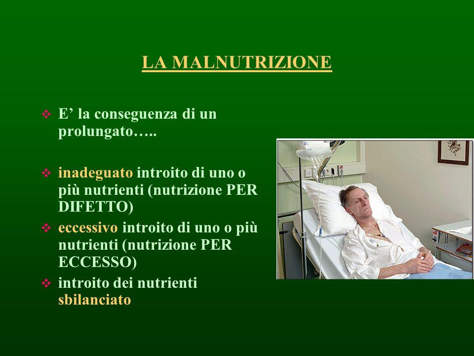 LA MALNUTRIZIONE E la conseguenza di un prolungato….. inadeguato introito di uno o più nutrienti (nutrizione PER DIFETTO) eccessivo introito di uno o