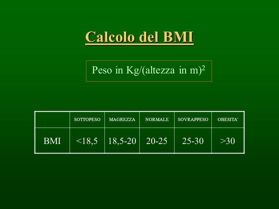 Calcolo del BMI Peso in Kg/(altezza in m) 2 SOTTOPESOMAGREZZANORMALESOVRAPPESOOBESITA BMI<18,518,5-2020-2525-30>30