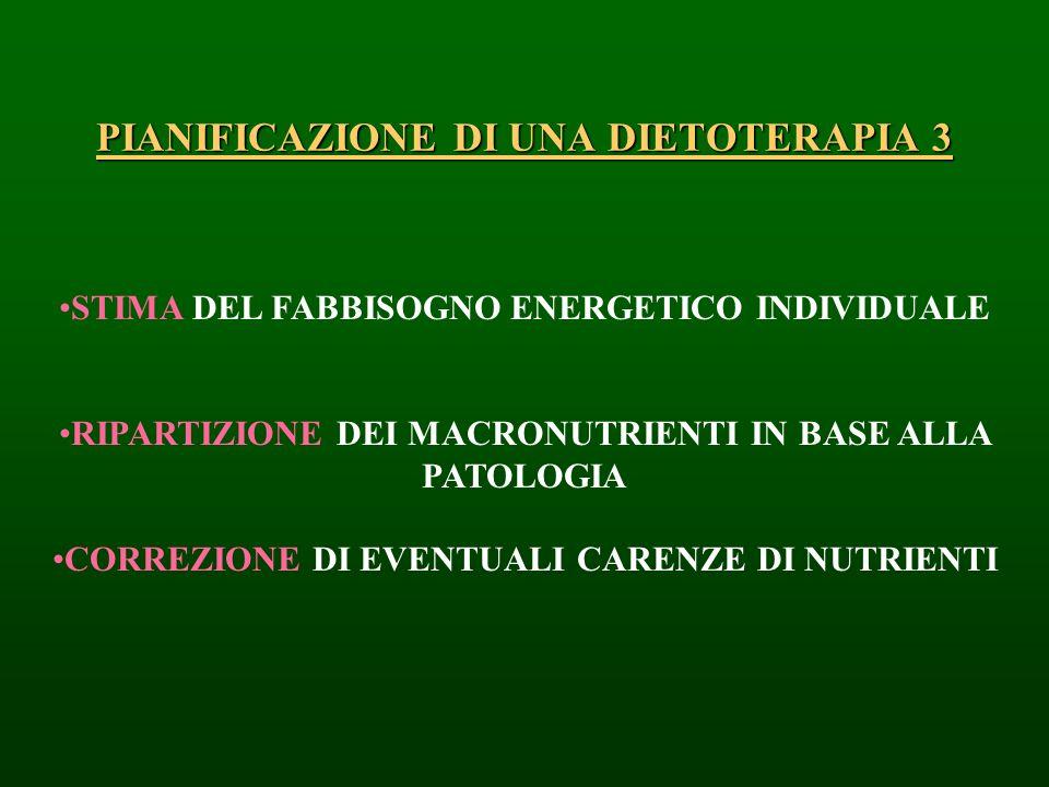 PIANIFICAZIONE DI UNA DIETOTERAPIA 3 STIMA DEL FABBISOGNO ENERGETICO INDIVIDUALE RIPARTIZIONE DEI MACRONUTRIENTI IN BASE ALLA PATOLOGIA CORREZIONE DI