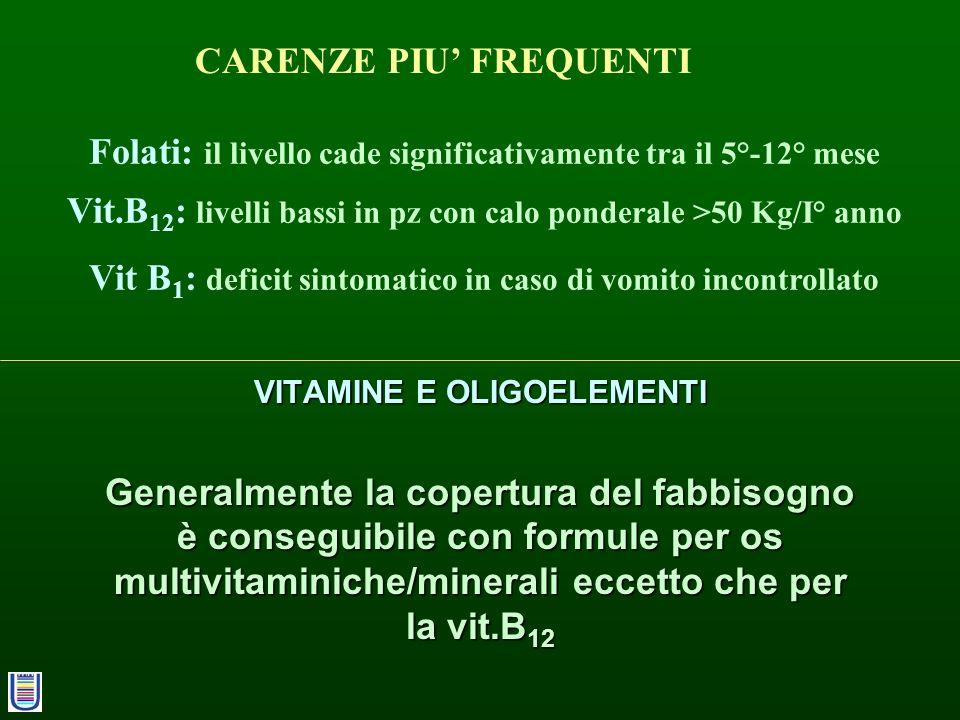 VITAMINE E OLIGOELEMENTI Generalmente la copertura del fabbisogno è conseguibile con formule per os multivitaminiche/minerali eccetto che per la vit.B