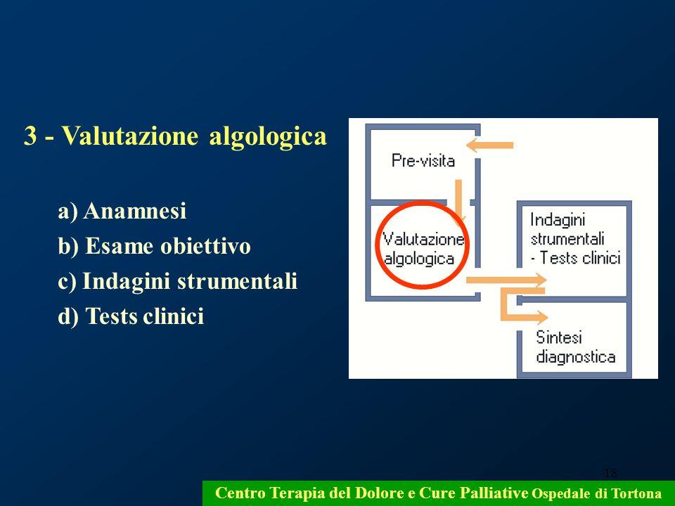 18 3 - Valutazione algologica a) Anamnesi b) Esame obiettivo c) Indagini strumentali d) Tests clinici Centro Terapia del Dolore e Cure Palliative Ospe
