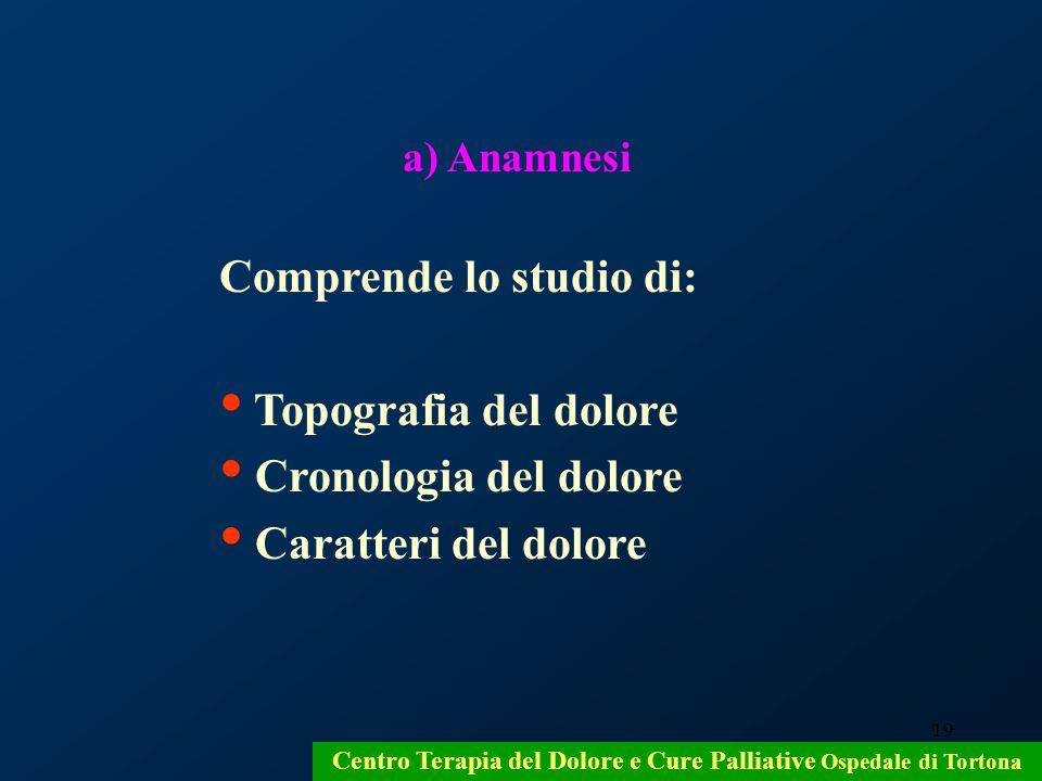 19 a) Anamnesi Comprende lo studio di: Topografia del dolore Cronologia del dolore Caratteri del dolore Centro Terapia del Dolore e Cure Palliative Os