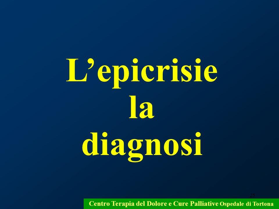 25 Lepicrisie la diagnosi Centro Terapia del Dolore e Cure Palliative Ospedale di Tortona