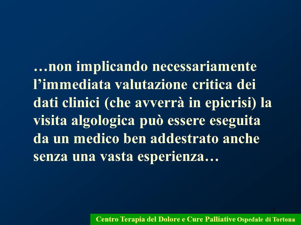 28 Centro Terapia del Dolore e Cure Palliative Ospedale di Tortona …non implicando necessariamente limmediata valutazione critica dei dati clinici (ch