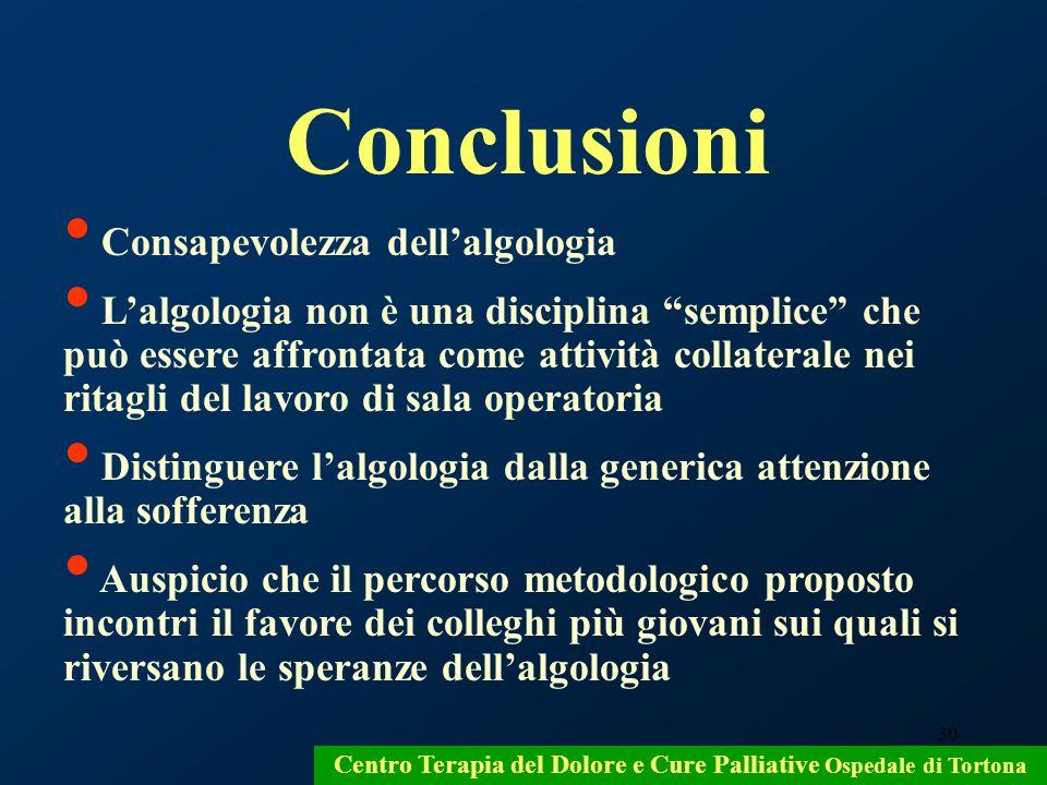 30 Conclusioni Consapevolezza dellalgologia Lalgologia non è una disciplina semplice che può essere affrontata come attività collaterale nei ritagli d