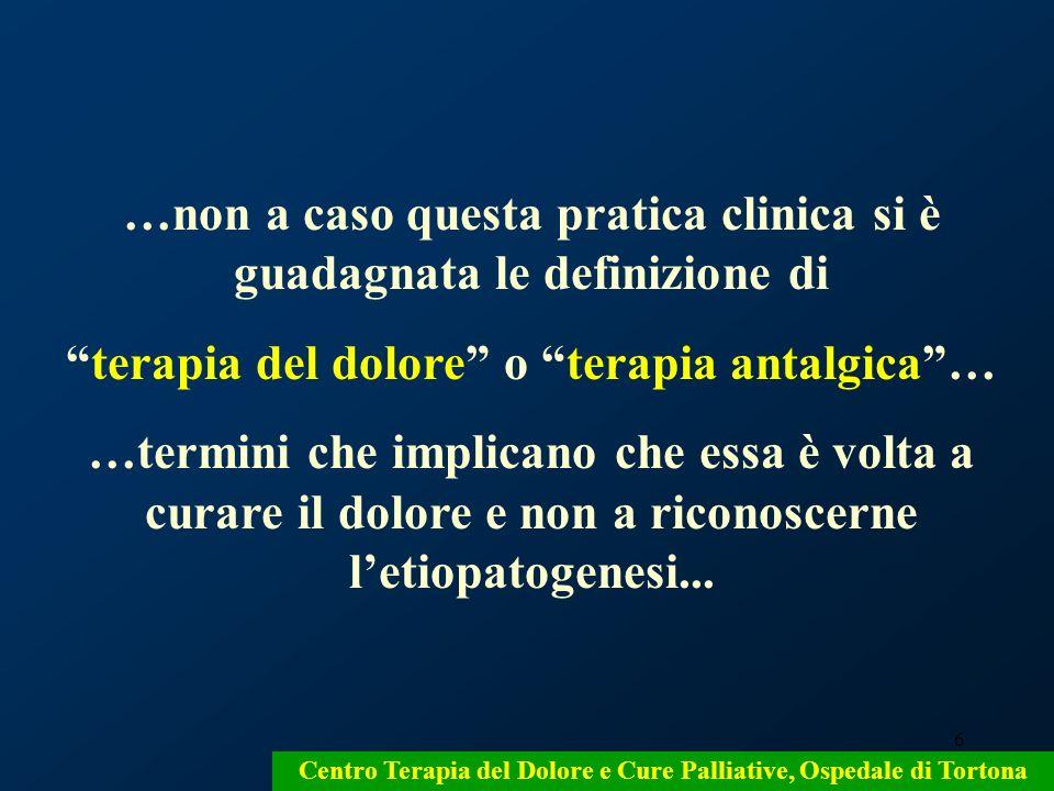 7 La terapia del dolore: un errore semantico che comporta: un errore metodologico, errate convinzioni, errati comportamenti Centro Terapia del Dolore e Cure Palliative Ospedale di Tortona