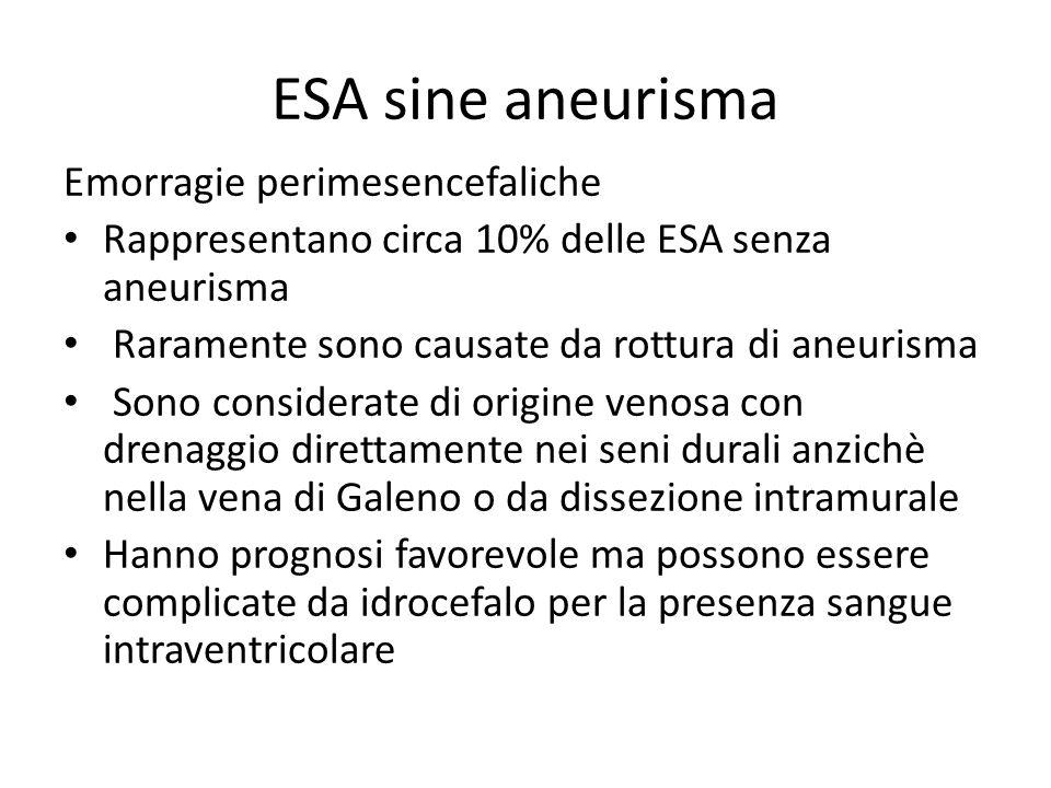 ESA sine aneurisma Emorragie perimesencefaliche Rappresentano circa 10% delle ESA senza aneurisma Raramente sono causate da rottura di aneurisma Sono