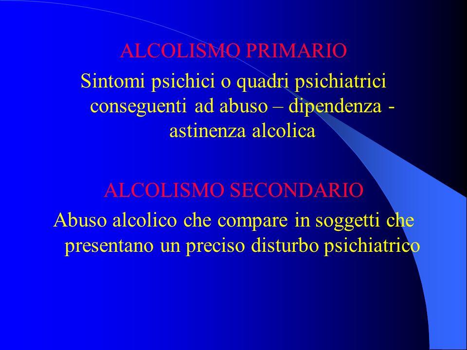 ALCOLISMO PRIMARIO Sintomi psichici o quadri psichiatrici conseguenti ad abuso – dipendenza - astinenza alcolica ALCOLISMO SECONDARIO Abuso alcolico c