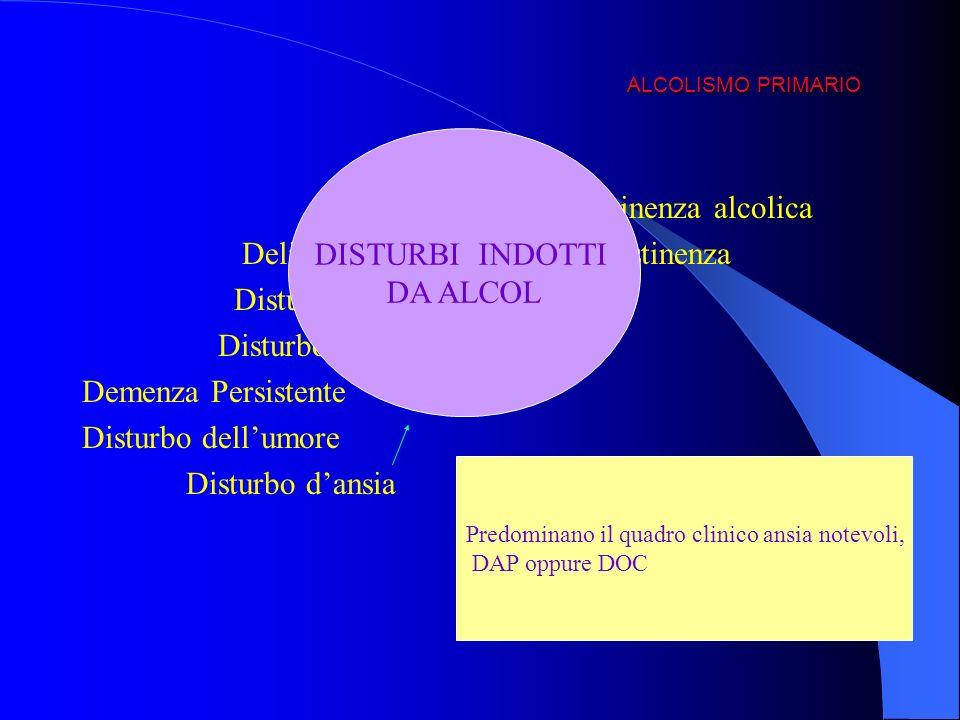 ALCOLISMO PRIMARIO Astinenza alcolica Delirium da intossicazione o astinenza Disturbo amnestico persistente Disturbo psicotico Demenza Persistente Dis