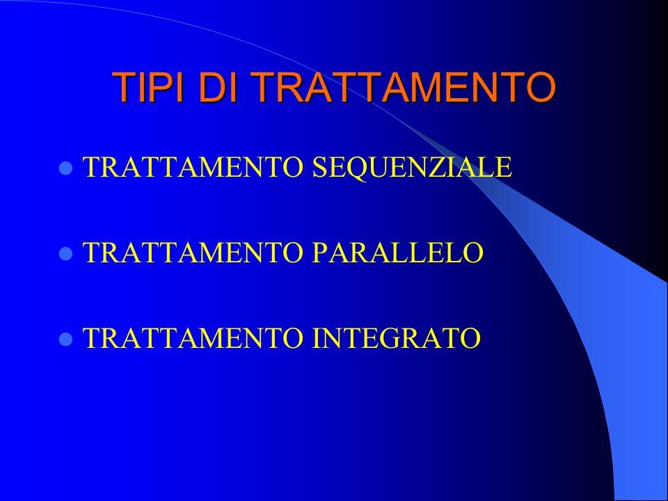 TIPI DI TRATTAMENTO TRATTAMENTO SEQUENZIALE TRATTAMENTO PARALLELO TRATTAMENTO INTEGRATO