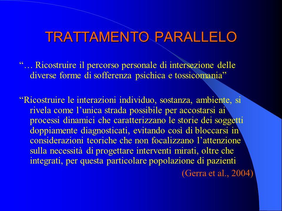 TRATTAMENTO PARALLELO … Ricostruire il percorso personale di intersezione delle diverse forme di sofferenza psichica e tossicomania Ricostruire le int