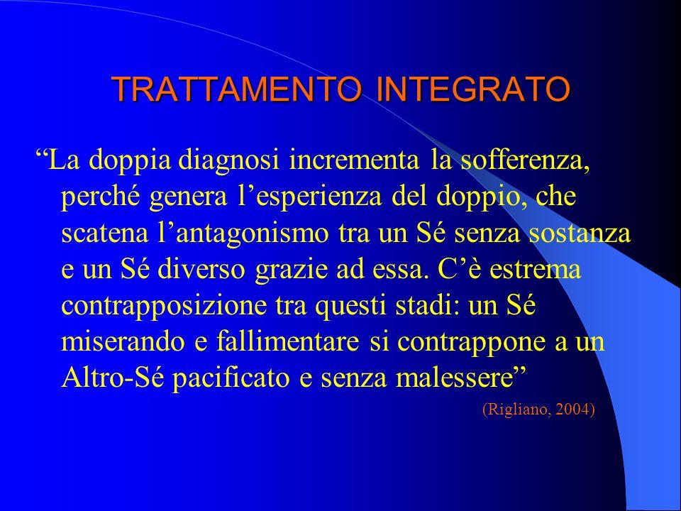 TRATTAMENTO INTEGRATO La doppia diagnosi incrementa la sofferenza, perché genera lesperienza del doppio, che scatena lantagonismo tra un Sé senza sost