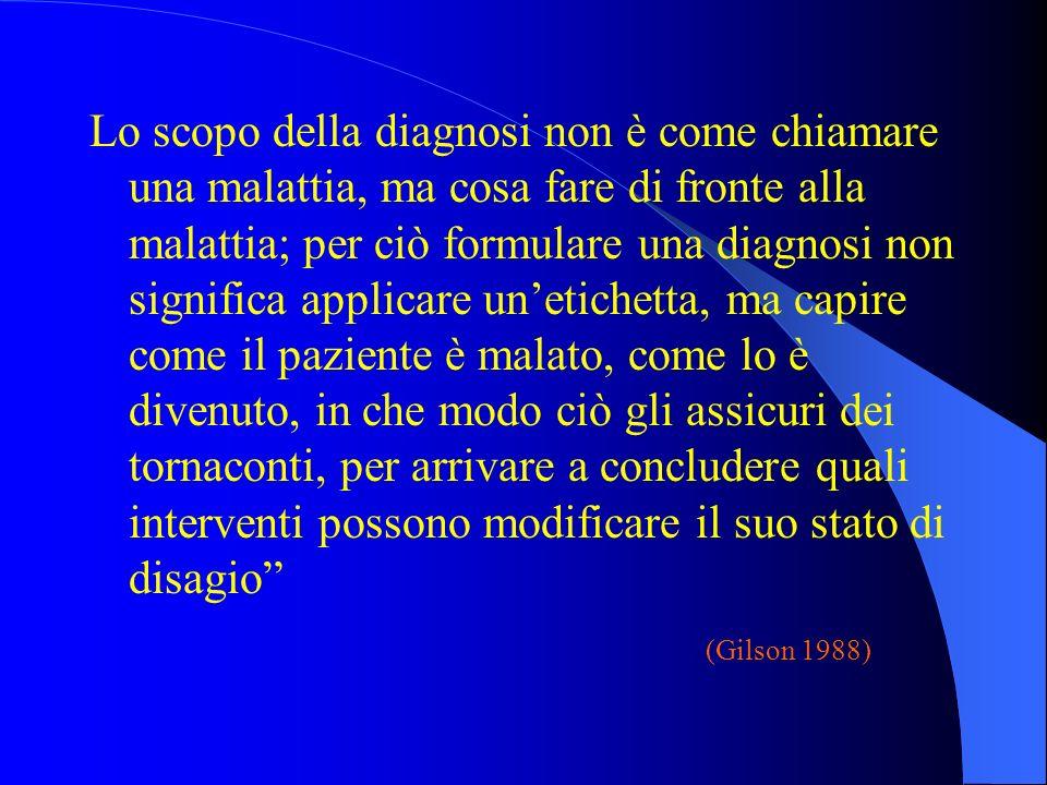 Lo scopo della diagnosi non è come chiamare una malattia, ma cosa fare di fronte alla malattia; per ciò formulare una diagnosi non significa applicare