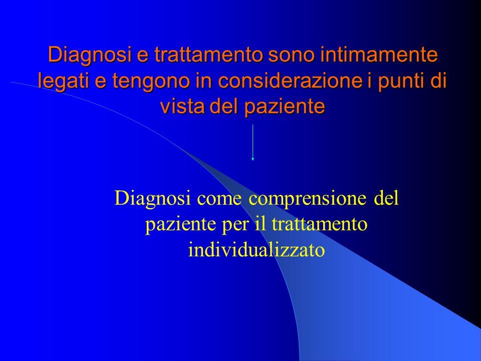 Diagnosi e trattamento sono intimamente legati e tengono in considerazione i punti di vista del paziente Diagnosi come comprensione del paziente per i