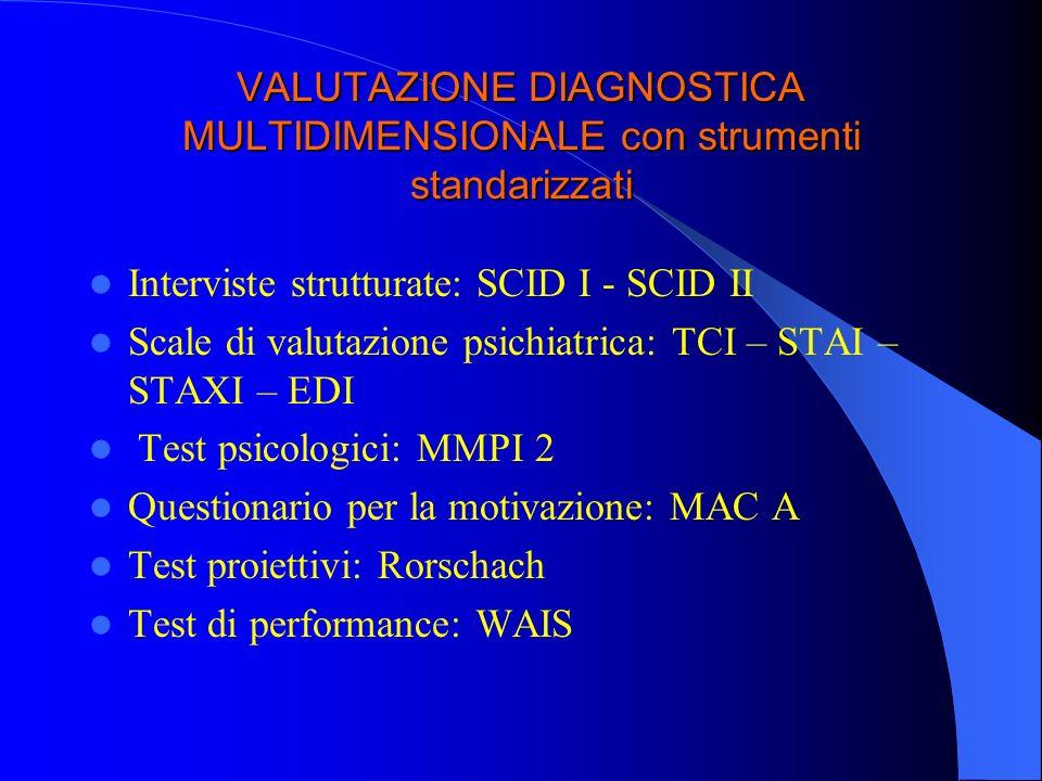 VALUTAZIONE DIAGNOSTICA MULTIDIMENSIONALE con strumenti standarizzati Interviste strutturate: SCID I - SCID II Scale di valutazione psichiatrica: TCI