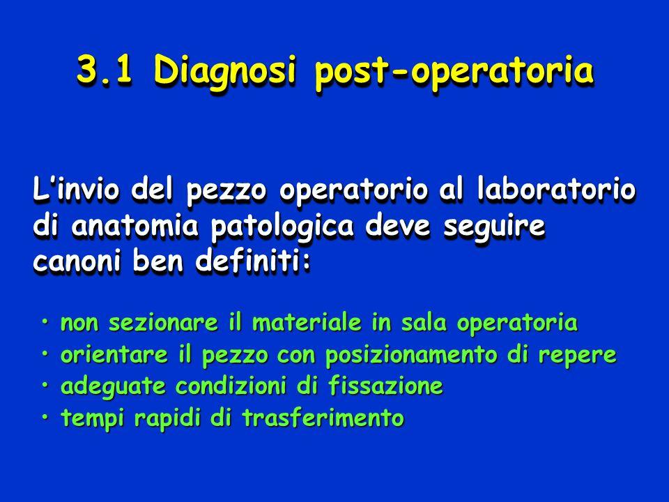 3.1 Diagnosi post-operatoria Linvio del pezzo operatorio al laboratorio di anatomia patologica deve seguire canoni ben definiti: non sezionare il mate