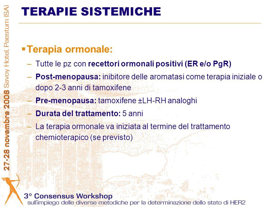 TERAPIE SISTEMICHE Terapia ormonale: –Tutte le pz con recettori ormonali positivi (ER e/o PgR) –Post-menopausa: inibitore delle aromatasi come terapia