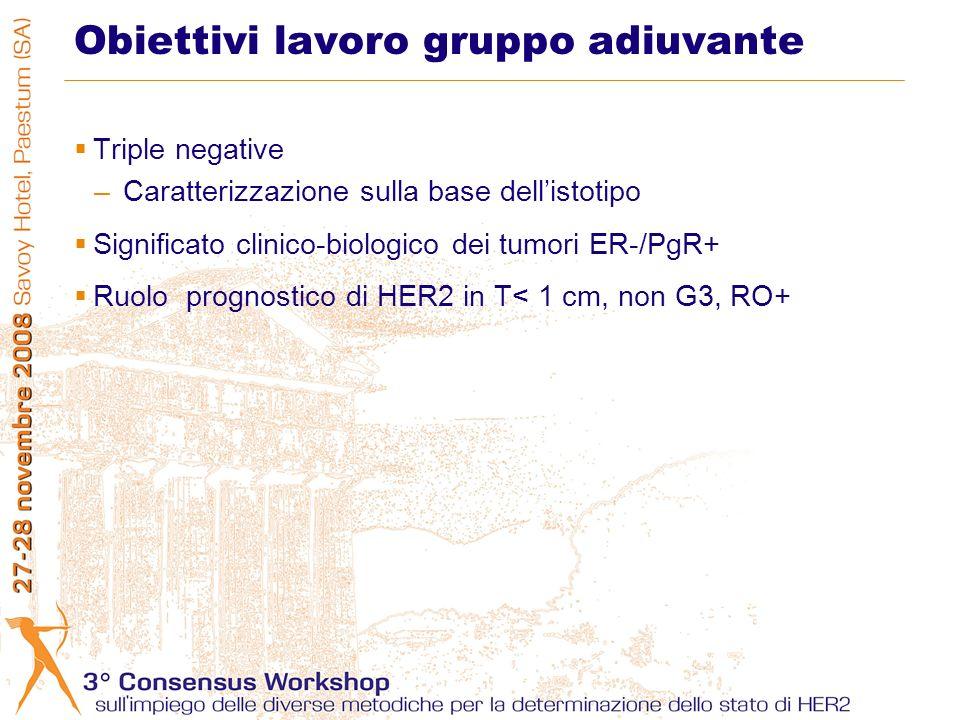 Obiettivi lavoro gruppo adiuvante Triple negative –Caratterizzazione sulla base dellistotipo Significato clinico-biologico dei tumori ER-/PgR+ Ruolo p