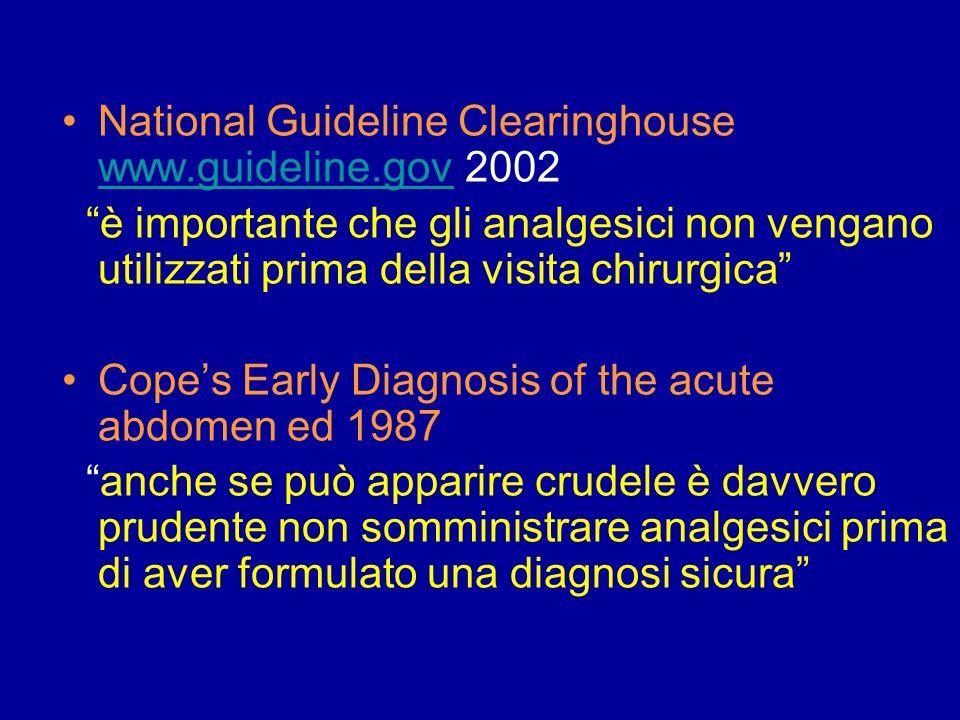 National Guideline Clearinghouse www.guideline.gov 2002 www.guideline.gov è importante che gli analgesici non vengano utilizzati prima della visita ch