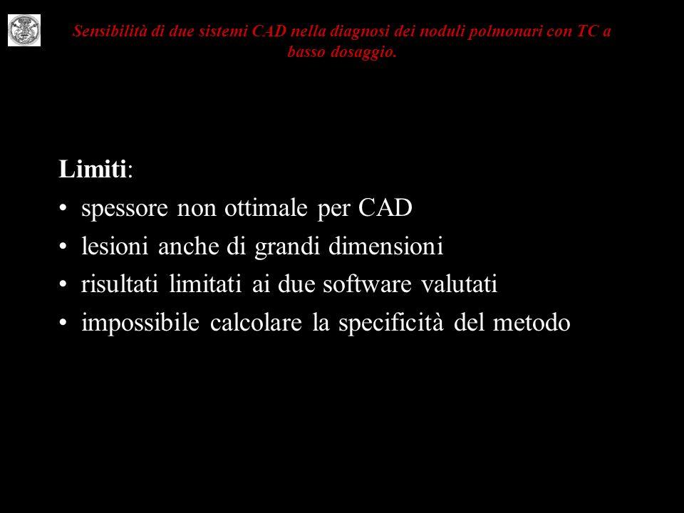 Sensibilità di due sistemi CAD nella diagnosi dei noduli polmonari con TC a basso dosaggio. Limiti: spessore non ottimale per CAD lesioni anche di gra