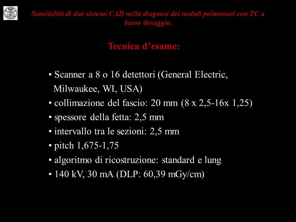 Sensibilità di due sistemi CAD nella diagnosi dei noduli polmonari con TC a basso dosaggio. Tecnica desame: Scanner a 8 o 16 detettori (General Electr