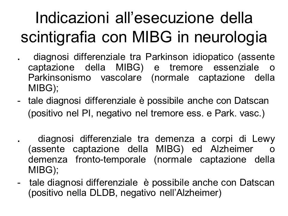 Indicazioni allesecuzione della scintigrafia con MIBG in neurologia. diagnosi differenziale tra Parkinson idiopatico (assente captazione della MIBG) e