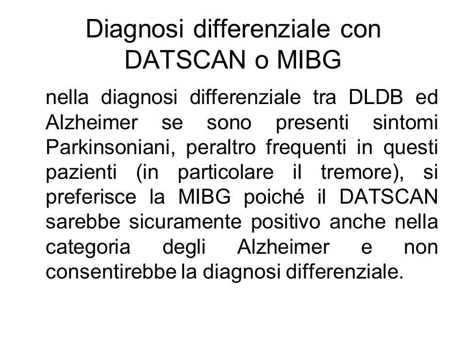 Diagnosi differenziale con DATSCAN o MIBG nella diagnosi differenziale tra DLDB ed Alzheimer se sono presenti sintomi Parkinsoniani, peraltro frequent