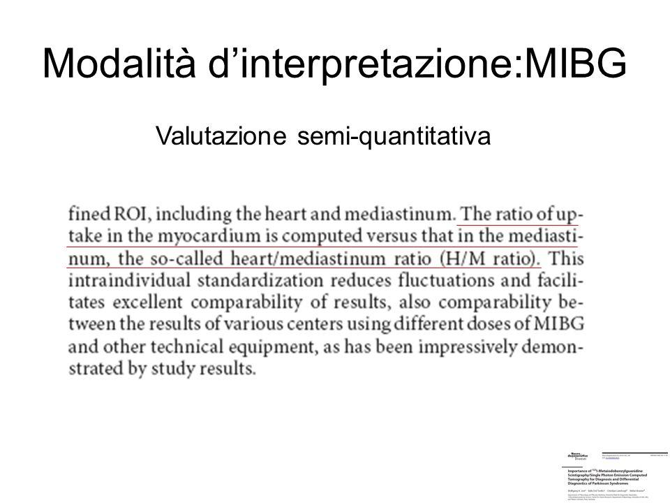 Modalità dinterpretazione:MIBG Valutazione semi-quantitativa