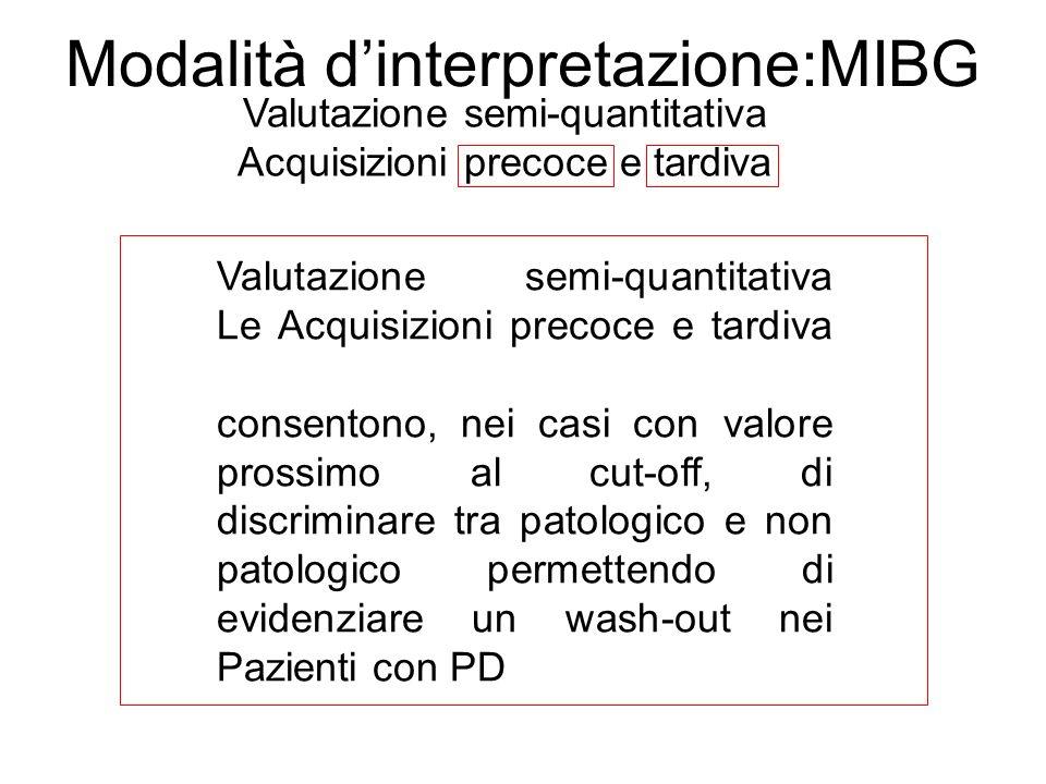 Modalità dinterpretazione:MIBG Valutazione semi-quantitativa Acquisizioni precoce e tardiva Valutazione semi-quantitativa Le Acquisizioni precoce e ta