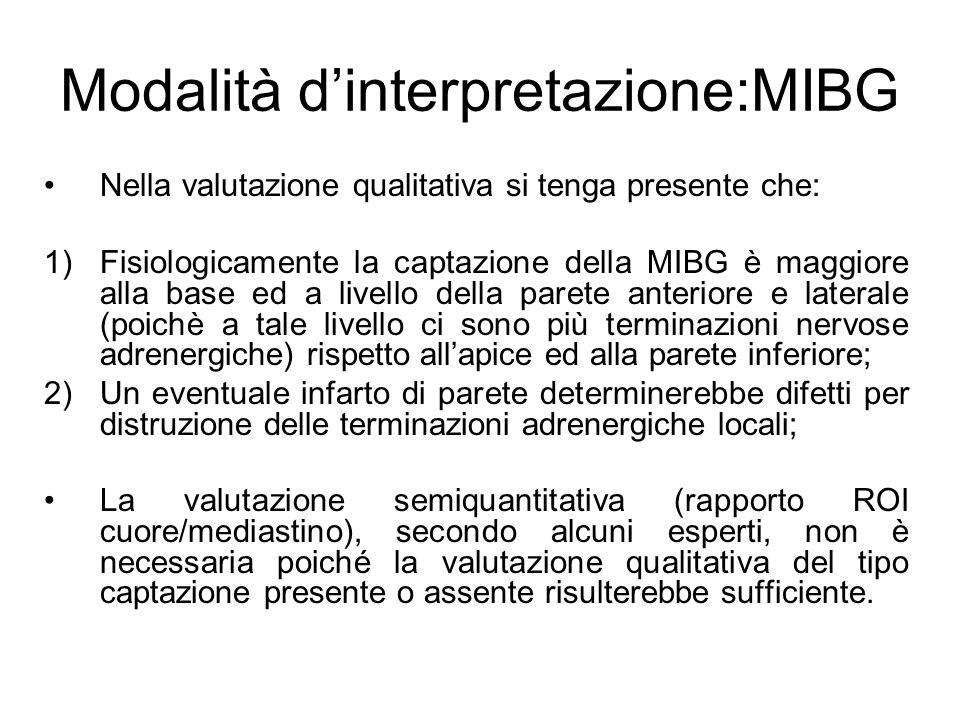 Nella valutazione qualitativa si tenga presente che: 1)Fisiologicamente la captazione della MIBG è maggiore alla base ed a livello della parete anteri