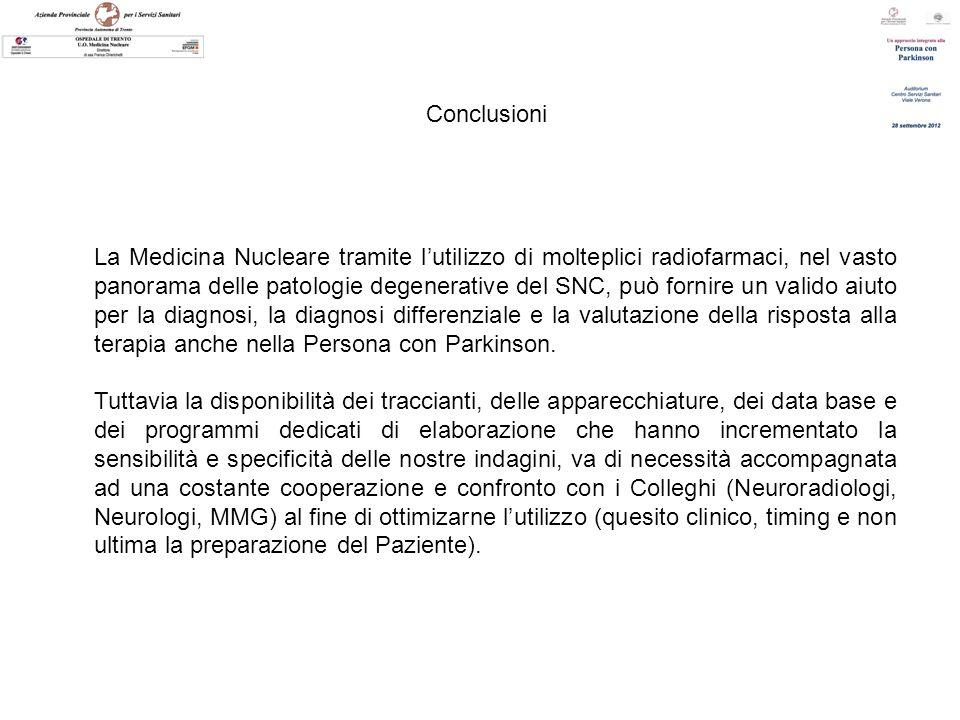 Conclusioni La Medicina Nucleare tramite lutilizzo di molteplici radiofarmaci, nel vasto panorama delle patologie degenerative del SNC, può fornire un