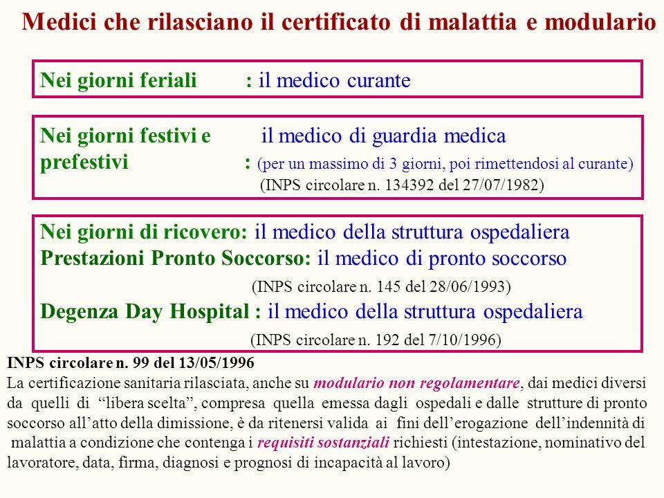 Medici che rilasciano il certificato di malattia e modulario Nei giorni feriali : il medico curante Nei giorni festivi e il medico di guardia medica p