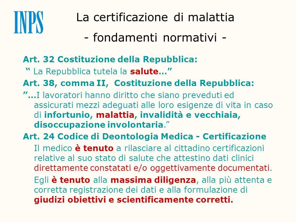 La certificazione di malattia - fondamenti normativi - Art. 32 Costituzione della Repubblica: La Repubblica tutela la salute… Art. 38, comma II, Costi
