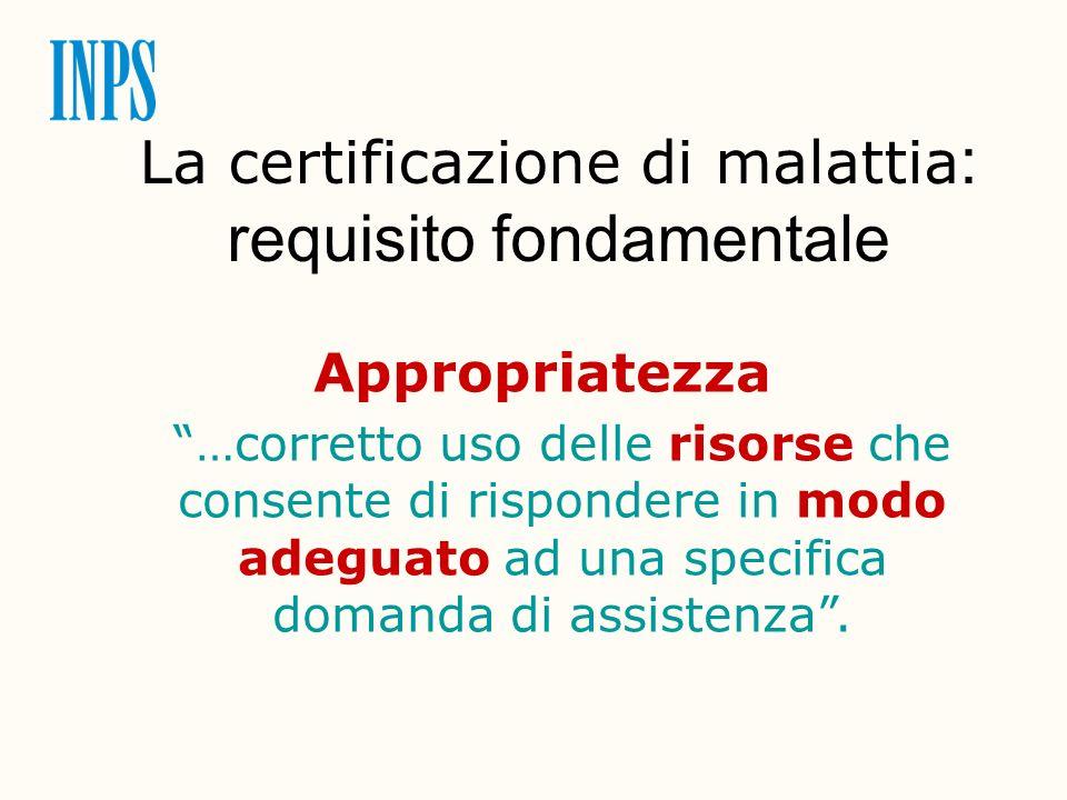 La certificazione di malattia : requisito fondamentale Appropriatezza …corretto uso delle risorse che consente di rispondere in modo adeguato ad una s