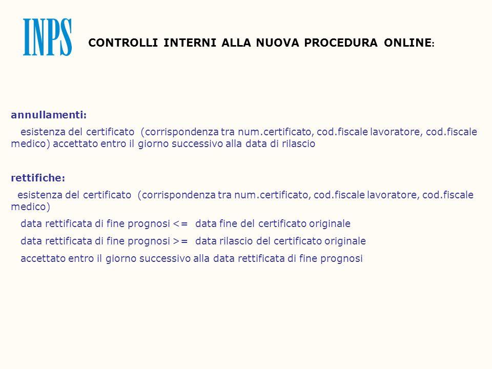 CONTROLLI INTERNI ALLA NUOVA PROCEDURA ONLINE : annullamenti: esistenza del certificato (corrispondenza tra num.certificato, cod.fiscale lavoratore, c