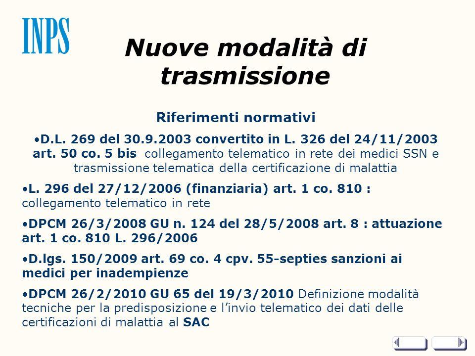 Nuove modalità di trasmissione Riferimenti normativi D.L. 269 del 30.9.2003 convertito in L. 326 del 24/11/2003 art. 50 co. 5 bis collegamento telemat