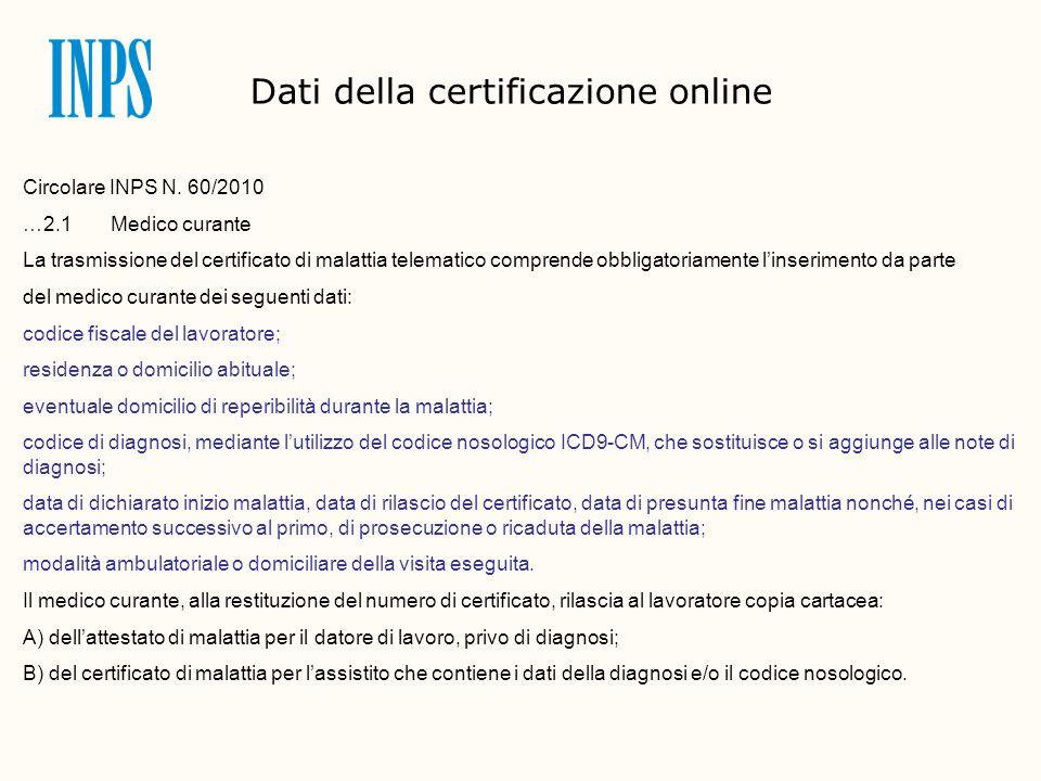 Circolare INPS N. 60/2010 …2.1 Medico curante La trasmissione del certificato di malattia telematico comprende obbligatoriamente linserimento da parte