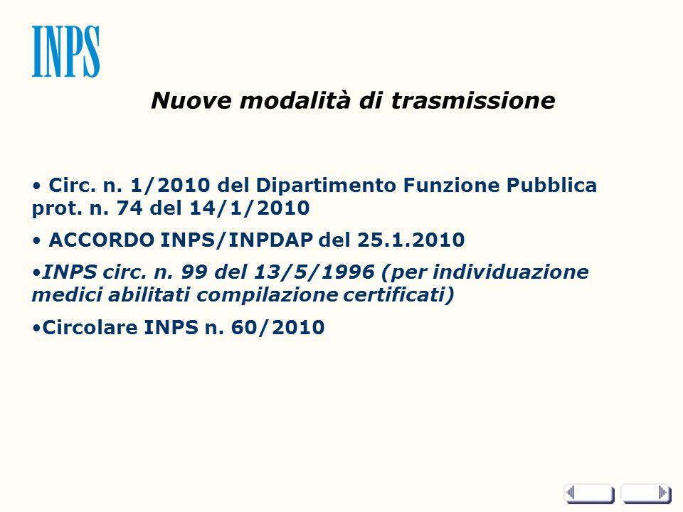 Nuove modalità di trasmissione Circ. n. 1/2010 del Dipartimento Funzione Pubblica prot. n. 74 del 14/1/2010 ACCORDO INPS/INPDAP del 25.1.2010 INPS cir