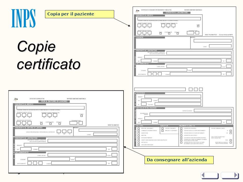 Pagina 2 di 2 - Titolo presentazione Copie certificato Copia per il paziente Da consegnare allazienda