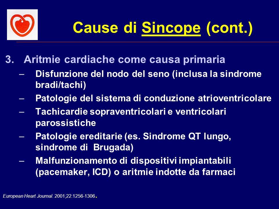 European Heart Journal. 2001;22:1256-1306. Cause di Sincope (cont.) 3.Aritmie cardiache come causa primaria –Disfunzione del nodo del seno (inclusa la