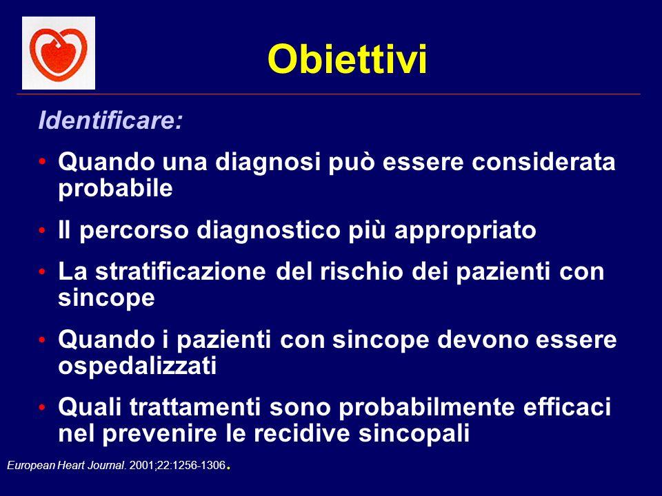European Heart Journal. 2001;22:1256-1306. Identificare: Quando una diagnosi può essere considerata probabile Il percorso diagnostico più appropriato