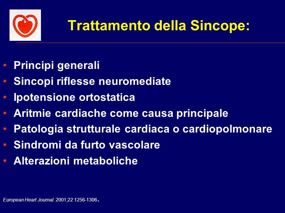 European Heart Journal. 2001;22:1256-1306. Trattamento della Sincope: Principi generali Sincopi riflesse neuromediate Ipotensione ortostatica Aritmie