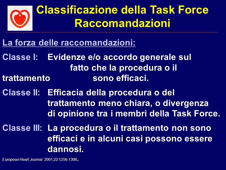 European Heart Journal. 2001;22:1256-1306. La forza delle raccomandazioni: Classe I:Evidenze e/o accordo generale sul fatto che la procedura o il trat