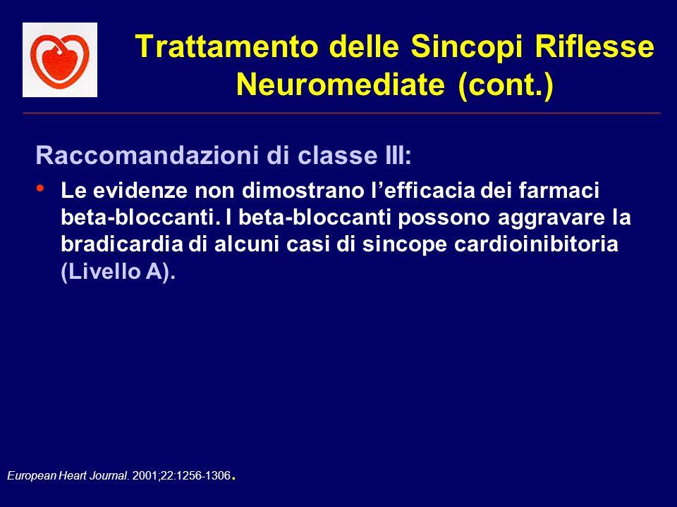 European Heart Journal. 2001;22:1256-1306. Trattamento delle Sincopi Riflesse Neuromediate (cont.) Raccomandazioni di classe III: Le evidenze non dimo